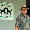 Kevin Wallace with Foundations.<br /> Scenes, people and horses at The July Sale at Fasig-Tipton near Lexington, Ky. on July 10, 2021.