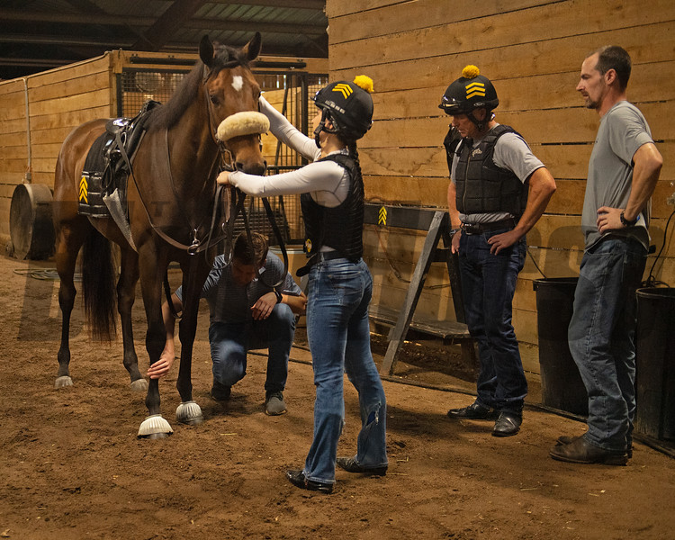 Watching each horse jog and checking each horse's legs before they go out in the next set. Jack Sisterson at his training barn at Keeneland n Lexington, Ky on Aug. 17, 2021. Photo: Anne M. Eberhardt