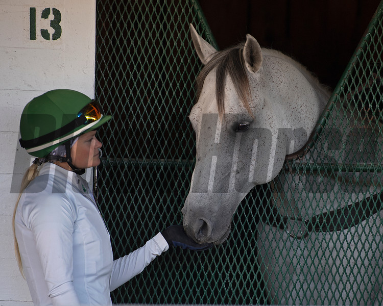 Millefeuille's exercise rider Ailsa Morrison with Mott pony Smoke.<br /> Kentucky Derby and Oaks horses, people and scenes at Churchill Downs in Louisville, Ky., on April 26, 2021.