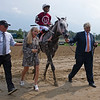 Steve Asmussen sets record., walking in with Stellar Tap <br /> Saratoga racing scenes at Saratoga in Saratoga Springs, N.Y. on Aug. 7, 2021.