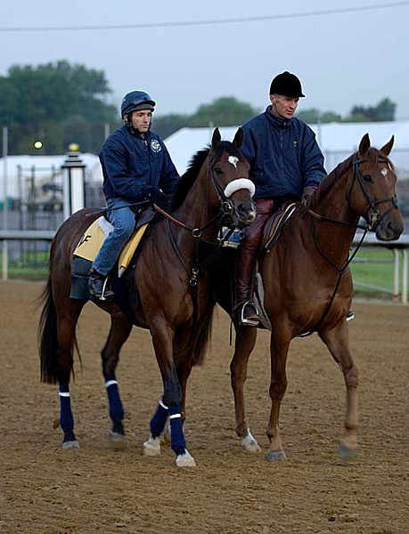 Caption: trainer Michael Matz on lead pony with Barbaro and Peter Brette up<br /> Horses working and connections of Kentucky Derby and Oaks at Churchill Downs in Louisville, Ky. on April 28, 2006.<br /> 2CDWorks4_28_06 image14<br /> Photo by Anne M. Eberhardt