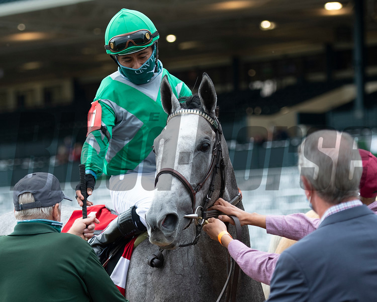 Harvey's Lil Goil with Martin Garcia wins the Queen Elizabeth II Challenge Cup (G1) Presented by Dixiana at Keeneland on October 3, 2020. Photo: Anne M. Eberhardt