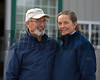 Michael Cavey and Nancy Temple (married), both veterinarians, at their Respite Farm near Paris, Ky. on Dec. 22, 2016.<br /> Horses are Lucky To Be Me (dam of Champagne Room) in foal to Strong Mandate, and the Drosselmeyer--Lucky To Be Me weanling (yearling as of Jan. 1, 2017). Statue is Playa Maya with her 2008 foal (named Uncle Mo).