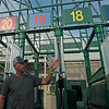 Caption: Scott Jordan and new 20-stall starting gate<br /> Kentucky Derby and Oaks training at Churchill Downs near Louisville, Ky., on Aug. 28, 2020 Churchill Downs in Louisville, KY.
