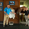 Caption: Caption: (L-R): Rob Willis, Hall of Champions Manager, Funny Cide, and Laura Kraner, Hall of Champions Coordinator<br /> Funny Cide and Go for Gin at the Kentucky Horse Park near Lexington, Ky., on Sept. 1, 2020 Kentucky Horse Park in Lexington, KY.