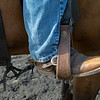 Caption:  Heath's boot and spur<br /> A native of Oklahoma, Heath started working at WinStar Farm on October 10, 2014, and became the farm trainer in October of 2018. Presently he has about 100 horses in training at the WinStar Farm training center, where they have a 7 1/2-furlong main track and 3/4 of a mile undulating turf gallop.<br /> Daily Life series on Destin Heath, farm trainer at WinStar Farm on Aug. 11, 2020 WinStar Farm in Versailles, KY.