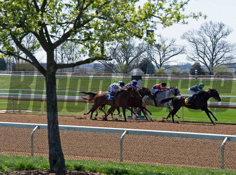 Race 2 with Rising Seas on the lead in the stretch. <br /> Scenes from opening day at Keeneland near Lexington, Ky., on April 2, 2021.