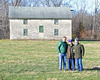 l-r, Romain Malhouitre, Catesby and Brutus Clay in front of church at Runnymede farm on Dec. 8, 2016, in Cynthiana, Ky.