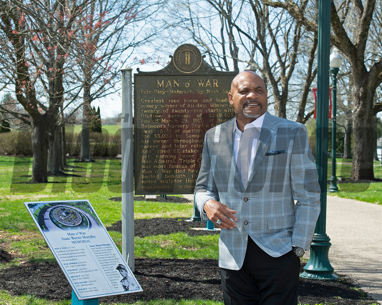 in front of plaques for the Man o' War statue by the Isaac Murphy Memorial Garden<br /> Ron Mack with Legacy Equine Academy at the Kentucky Horse Park  in Lexington, Ky., on March 30, 2021.