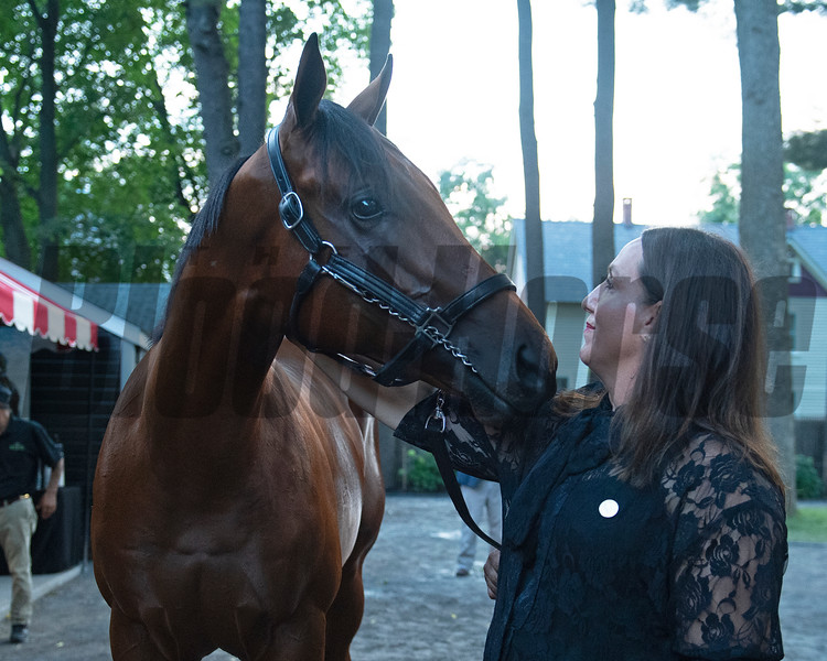 Hip 132 with Rita Riccelli<br /> Sales scenes at Fasig-Tipton in Saratoga Springs, N.Y. on Aug. 10, 2021.
