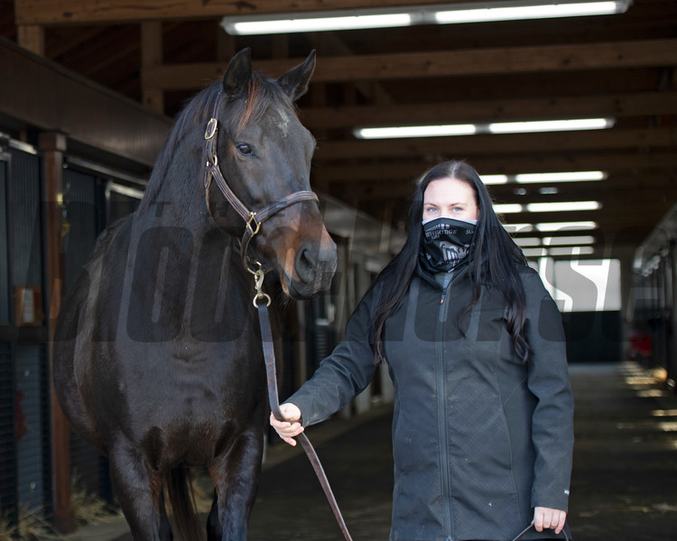 Jackie O'Rourke, Margaux broodmare manager, with the Hills' mare Solid Appeal (in foal to Twirling Candy) at Margaux near Midway, Ky., on Dec. 18, 2020.