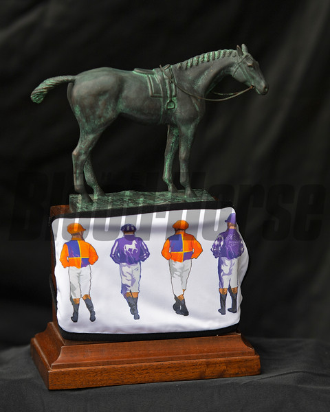 Eclipse Award in Spendthrift Farm mask<br /> Eclipse Award images near Versailles, Ky., on Jan. 5, 2021.