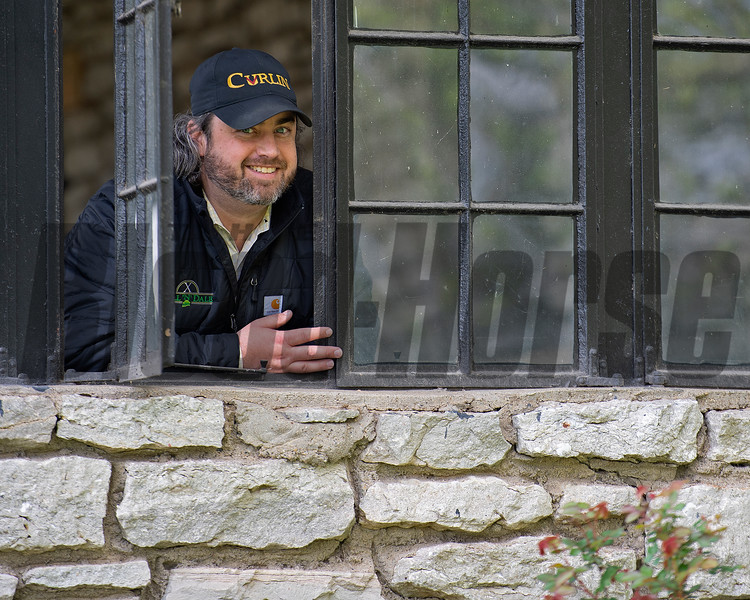 General Manager Jared Burdine looking out of the stallion barn. <br /> Scenes at Hill 'n' Dale (Xalapa) near Paris, Ky., on April 14, 2021.