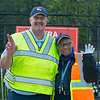 (L-R): NYRA security Rick Roden and Rita Cutler<br /> Saratoga racing scenes in Saratoga Springs, N.Y. on Aug. 5, 2021.