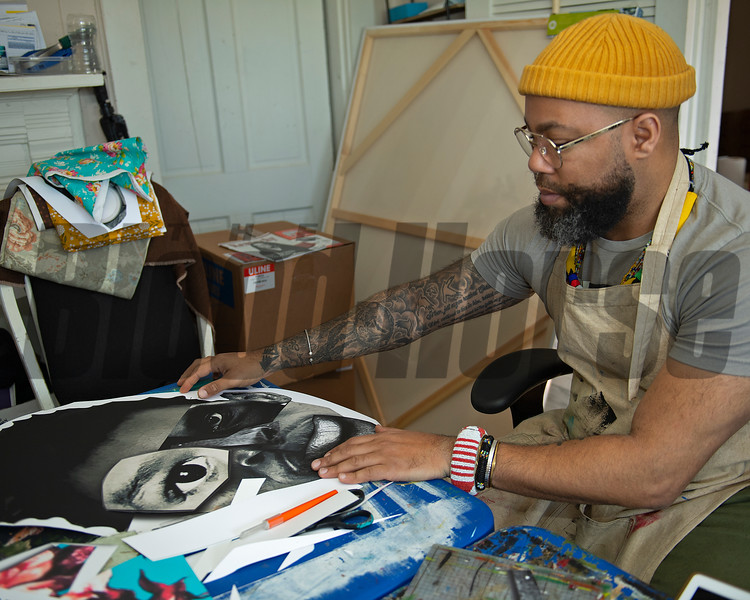 working with different mediums as Dafri works to put a project together.<br /> Dafri aka Jason Thompson, an American artist from Kentucky who specializes in multi-mediums and various subjects including a focus on black jockeys and history, in his art studio on March 2, 2021.