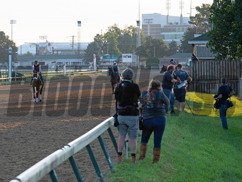 Art Collector with Brian Hernandez Jr., on track with non Derby/OaKs horses. Very few media line the rail. Kentucky Derby and Oaks training at Churchill Downs near Louisville, Ky., on Aug. 30, 2020 Churchill Downs in Louisville, KY. Photo: Anne M. Eberhardt