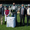 (L-r): Steve Jackson, Luis Saez, presenter Matt Harmon, Westley Ward, and Kyle Wilson with Keeneland. Twenty Carat with Luis Saez wins G3 Beaumont Presented by Keeneland Selects <br /> at Keeneland near Lexington, Ky., on April 2, 2021.
