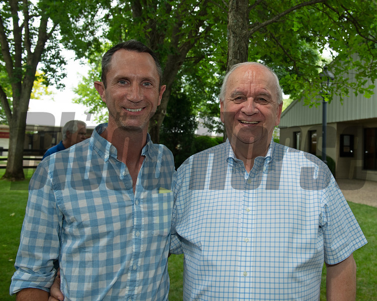 (L-R): Martin Keogh and Robert Slack. Hip 448 Jeweled Princess at Gainesway and purchased by Robert Stack's Stoneriggs Farm.<br /> Scenes, people and horses at The July Sale at Fasig-Tipton near Lexington, Ky. on July 12, 2021.