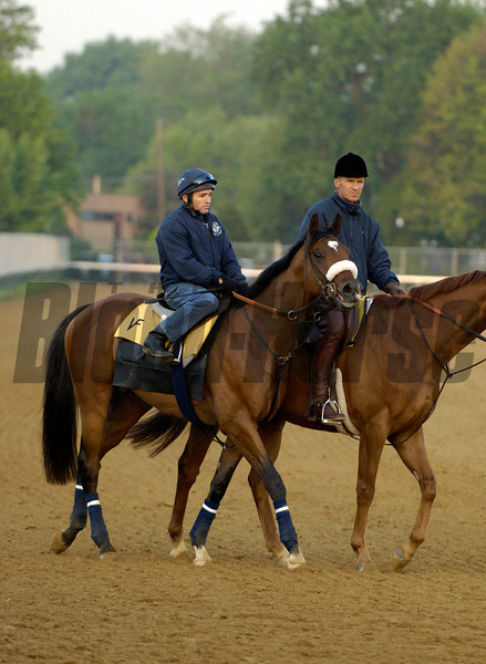 Caption: Barbaro with Peter Brette is lead by Matz<br /> Horses working and connections of Kentucky Derby and Oaks at Churchill Downs in Louisville, Ky. on April 28, 2006.<br /> 2CDWorks4_28_06 image86<br /> Photo by Anne M. Eberhardt