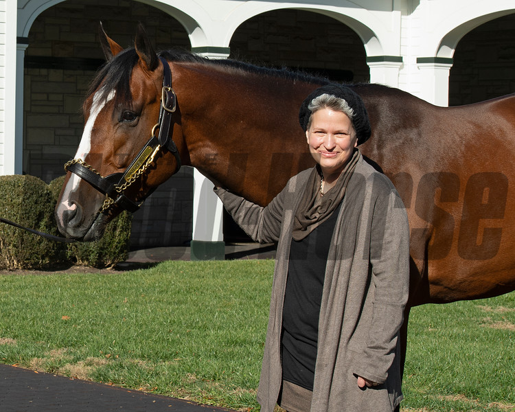 Rickelle Nelson with Authentic at Spendthrift Farm near Lexington, Ky., on Dec. 9, 2020.