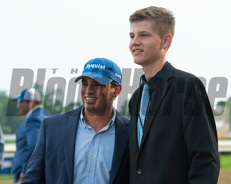 Team Brad Cox connections (groom on right). Knicks Go with Joel Rosario wins the Whitney (G1). <br /> Saratoga racing scenes at Saratoga in Saratoga Springs, N.Y. on Aug. 7, 2021.