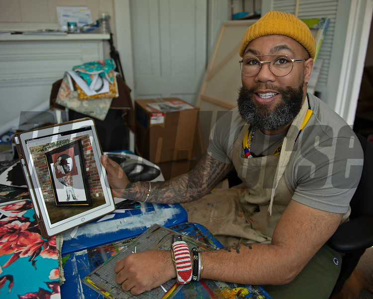 in his studio<br /> Dafri aka Jason Thompson, an American artist from Kentucky who specializes in multi-mediums and various subjects including a focus on black jockeys and history, in his art studio on March 2, 2021.