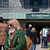 Fans pickiing up tickets on left and waiting in line to get in, on right. <br /> Scenes from opening day at Keeneland near Lexington, Ky., on April 2, 2021.