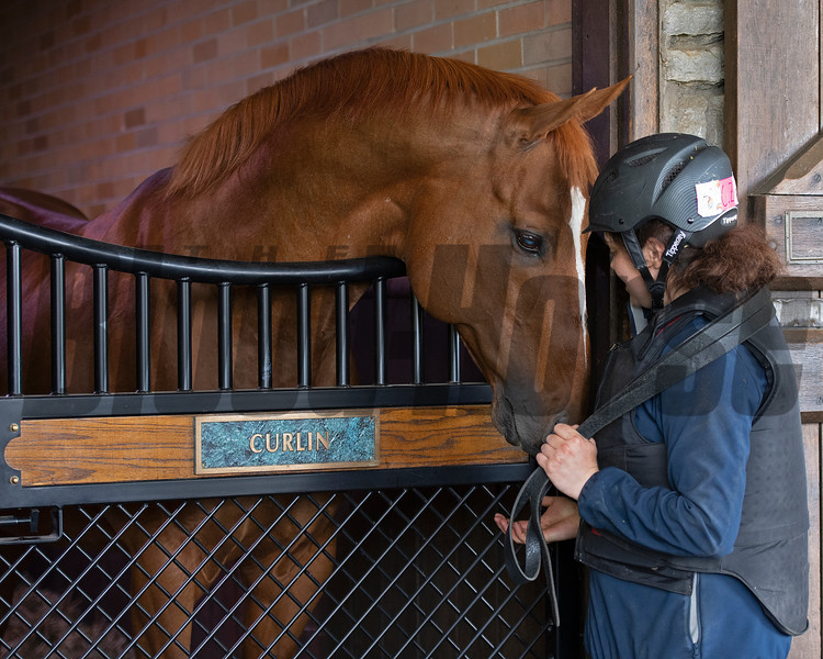 Curlin with his groom Christina Zurick<br /> Scenes at Hill 'n' Dale (Xalapa) near Paris, Ky., on April 14, 2021.
