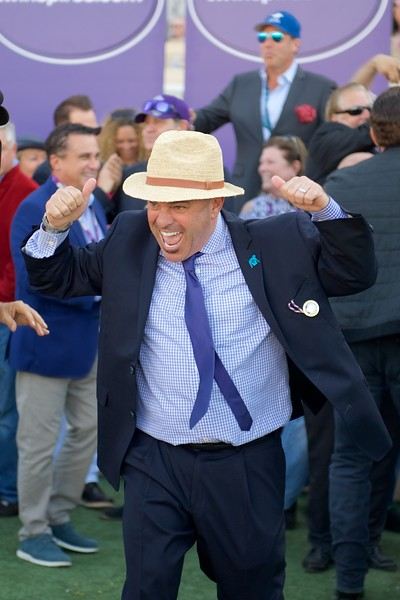 Connections of Roy H celebrate after winning the Breeders Cup Sprint on November 4, 2017. Photo by Anne M. Eberhardt