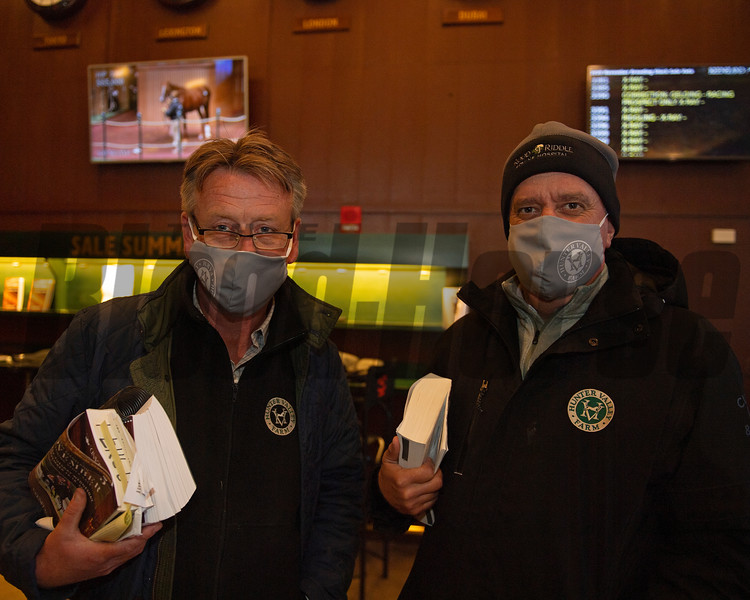 (L-R); buyers Fergus Galvin and Adrian Regan with Hunter Valley. Hip 3295 Hidden Scroll<br /> Sales horses at the Keeneland November Sale at Keeneland in Lexington, Ky. on November 17, 2020.