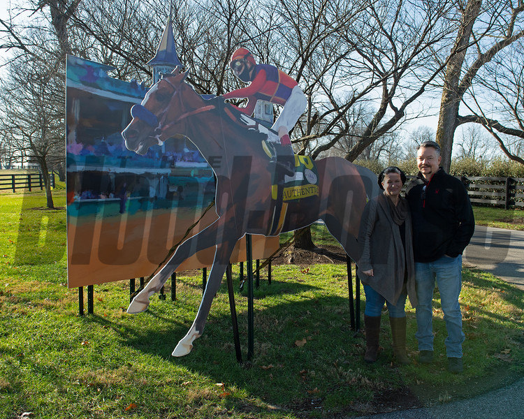 (L-R): Rickelle and Corey Nelson with Authentic cutout at Spendthrift Farm near Lexington, Ky., on Dec. 9, 2020.
