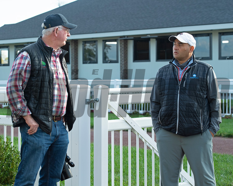 (L-R): Mike Ryan onsite to view horses training with Medina. Robbie Medina training horses at Blackwood Stables near Versailles, Ky.  on October 22, 2020.