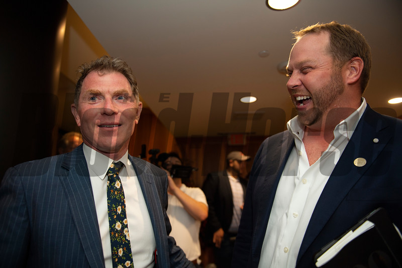 (L-R): Bobby Flay and Jacob West<br /> Sales scenes at Fasig-Tipton in Saratoga Springs, N.Y. on Aug. 9, 2021.