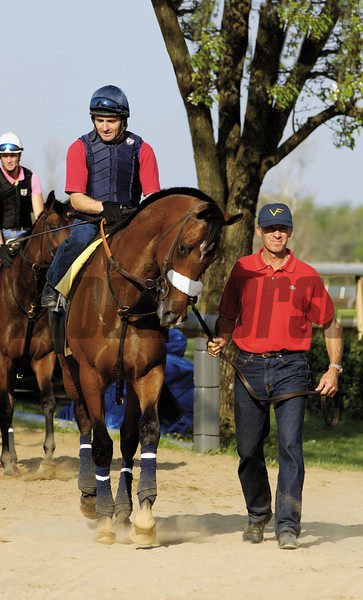 Caption: Barbaro with Peter Brette up is lead by Michael Matz as  he leaves the track.<br /> Barbaro and Michael Matz and other scenes at Keeneland in Lexington, Ky. on April 15, 2006.<br /> 1Barbaro4/5 image72<br /> Photo by Anne M. Eberhardt