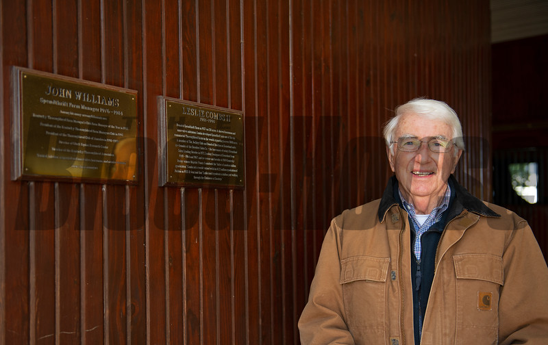 in stallion bbarn by plaque in his honor<br /> John Williams at Spendthrift Farm near Lexington, Ky on November 18, 2020.