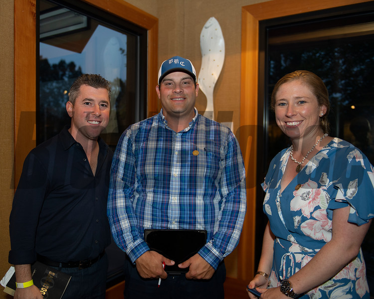 (L-R): Bradley Weisbord, Brad Cox, and Liz Crow<br /> Sales scenes at Fasig-Tipton in Saratoga Springs, N.Y. on Aug. 10, 2021.