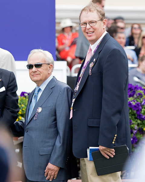 Jerry Hollendorfer, left, and Elliott Walden<br /> Battle of Midway wins the Breeders Cup Dirt Mile on November 3, 2017. Photo by Anne Eberhardt.