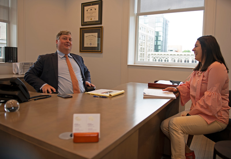 Caption: Drew in meeting with Courtney Reid<br /> Breeders' Cup CEO and President Drew Fleming in the Breeders' Cup office in downtown Lexington, Ky., on June 16, 2020 Drew Fleming in Lexington, KY.
