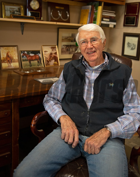 in his workshop sitting at his desk from his office during his Lee Eaton days.<br /> John Williams at Spendthrift Farm near Lexington, Ky., and at his home near Versailles, Ky. on November 18, 2020.