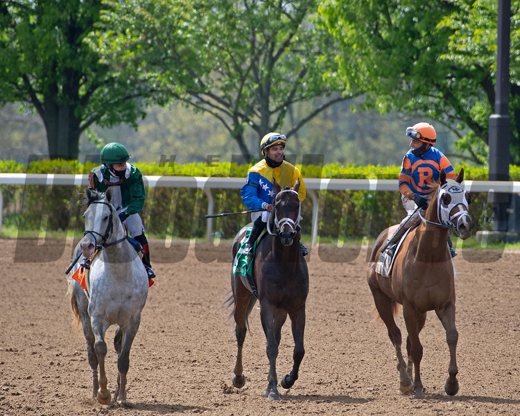 (L-R): Abdan with Joel Rosario, Sometimes Always with Luis Saez, and French Toast with John Velazquez after Race 6. <br /> Scenes at Keeneland near Lexington, Ky., on April 15, 2021. .