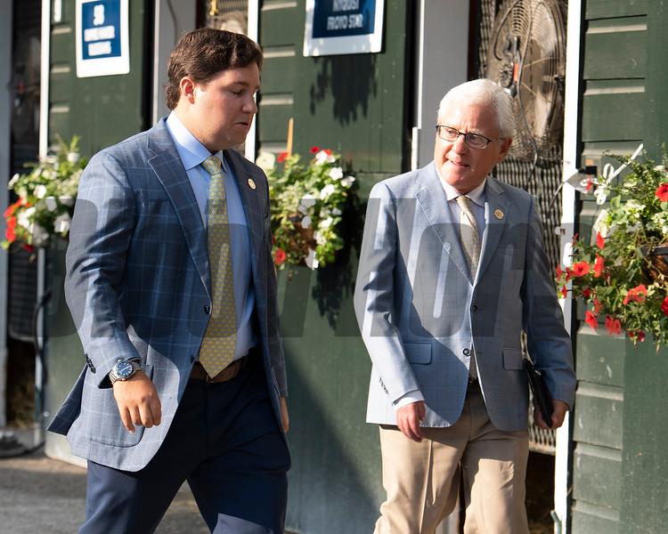 (L-R): Conrad and Craig Bandoroff<br /> Sales scenes at Fasig-Tipton in Saratoga Springs, N.Y. on Aug. 9, 2021.
