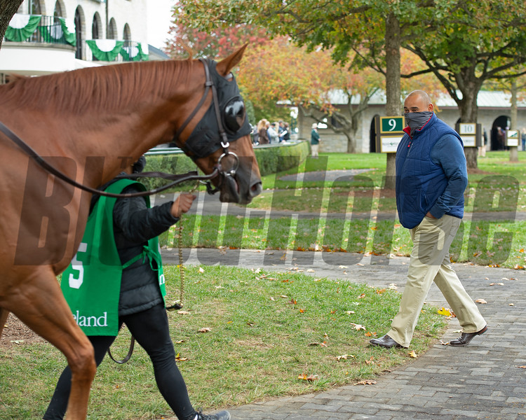 Robbie Medina saddles and watches #5 Bakers Bay with Tyler Gaffalione in allowance Race 5  at Keeneland on October 18, 2020.