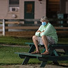 Caption: Steve Asmussen watching Max Player in his final Derby work.<br /> Kentucky Derby and Oaks training at Churchill Downs near Louisville, Ky., on Aug. 28, 2020 Churchill Downs in Louisville, KY.
