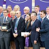 Connections of Mendelssohn celebrate winning the Breeders Cup Juvenile Turf on November 3, 2017. Photo by Skip Dickstein.