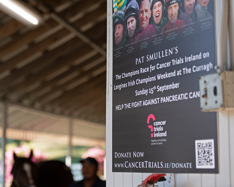 Campaign sign for fight against cancer with Pat Smullen<br /> at the Keeneland September Sale.