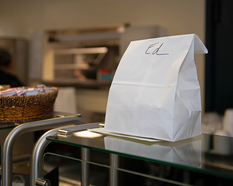 "Caption: takeout ""to-go"" bag for Ed <br /> Behind the Scenes at Keeneland during Covid19 virus and the people, horses, and essentials needed to take care of race horses on April 2, 2020 Keeneland in Lexington, KY."