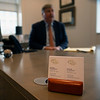 Caption: business cards with Drew in background<br /> Breeders' Cup CEO and President Drew Fleming in the Breeders' Cup office in downtown Lexington, Ky., on June 16, 2020 Drew Fleming in Lexington, KY.