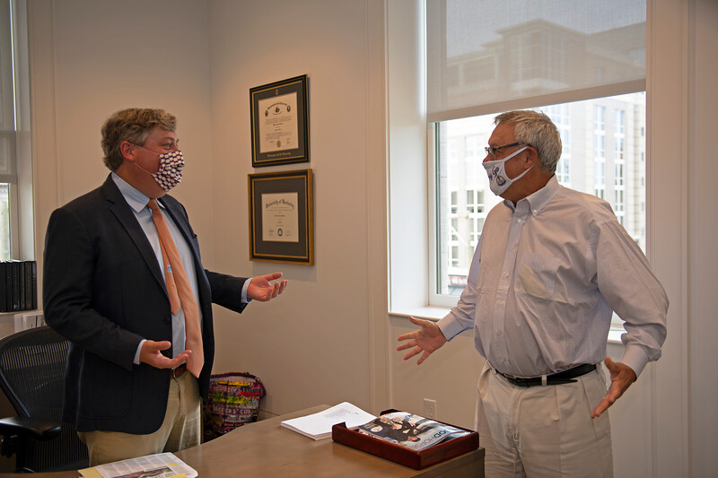 Caption: l-r, Drew and Rogers Beasley<br /> Breeders' Cup CEO and President Drew Fleming in the Breeders' Cup office in downtown Lexington, Ky., on June 16, 2020 Drew Fleming in Lexington, KY.