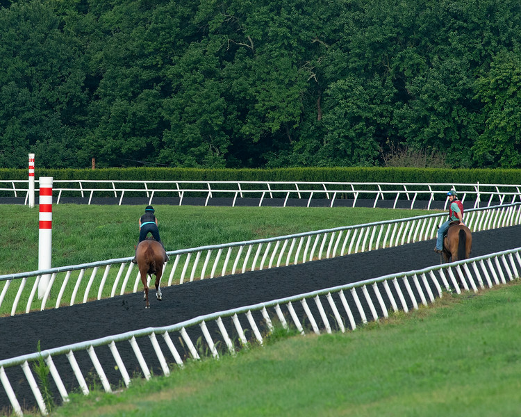 Caption: Heath on Fred, right, watches as a horse trains.<br /> A native of Oklahoma, Heath started working at WinStar Farm on October 10, 2014, and became the farm trainer in October of 2018. Presently he has about 100 horses in training at the WinStar Farm training center, where they have a 7 1/2-furlong main track and 3/4 of a mile undulating turf gallop.<br /> Daily Life series on Destin Heath, farm trainer at WinStar Farm on Aug. 11, 2020 WinStar Farm in Versailles, KY.