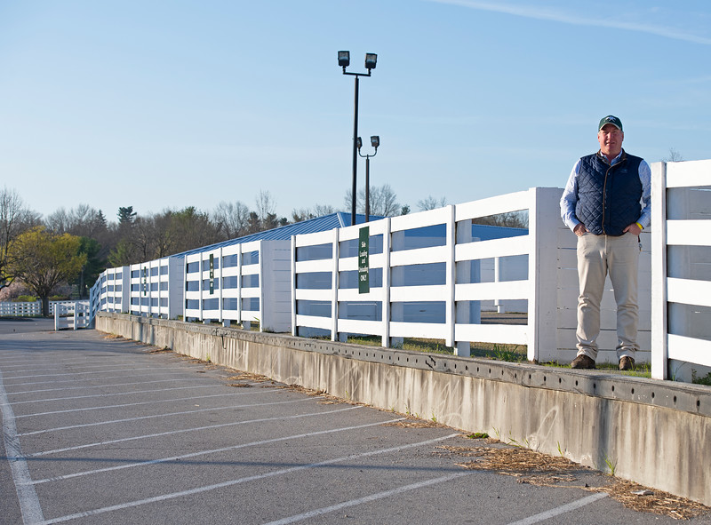Caption: Wayne Mogge, Stable Manager, standing on unloading dock where it would be very busy with new arrivals.<br /> Behind the Scenes at Keeneland during Covid19 virus and the people, horses, and essentials needed to take care of race horses on April 2, 2020 Keeneland in Lexington, KY.